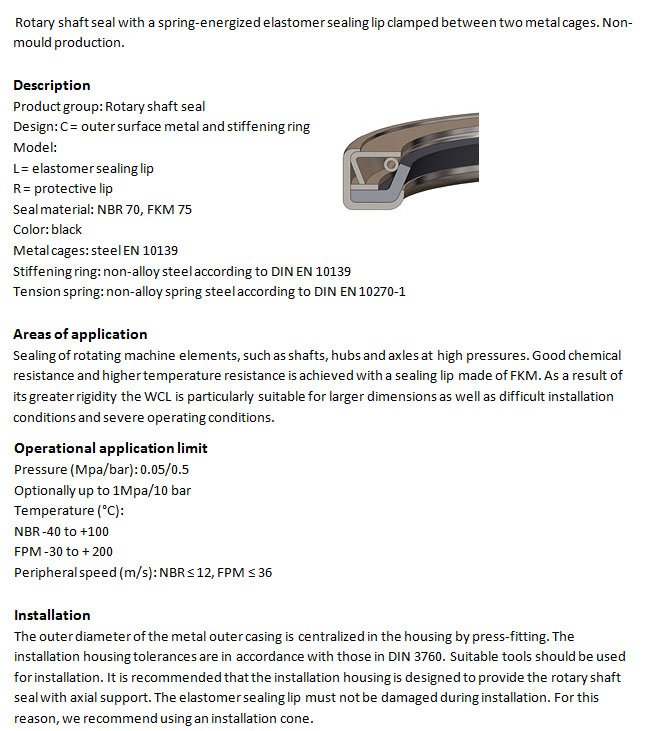 Rotary Shaft Seal Profile - WCL